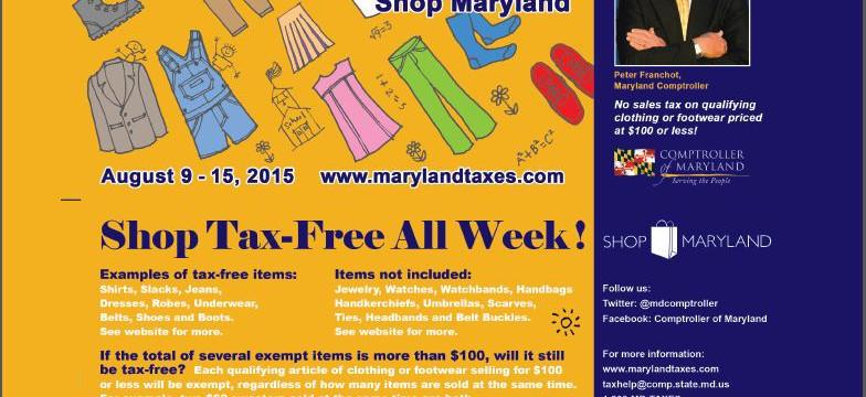 Mel Franklin | Shop Maryland Tax-Free Week – Aug. 9 – Aug. 15